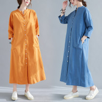 Dress Spring 2021 M [95-120 kg], l [120-135 kg], XL [135-150 Jin], 2XL [150-170 Jin] longuette singleton  three quarter sleeve commute V-neck Loose waist Solid color Single breasted A-line skirt shirt sleeve Others Type A literature 51% (inclusive) - 70% (inclusive) other hemp