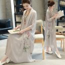 Dress Summer of 2019 Gray, white, red, green Mid length dress Fake two pieces elbow sleeve commute V-neck Loose waist Decor Socket Big swing routine Others Type A ethnic style printing 51% (inclusive) - 70% (inclusive) other hemp