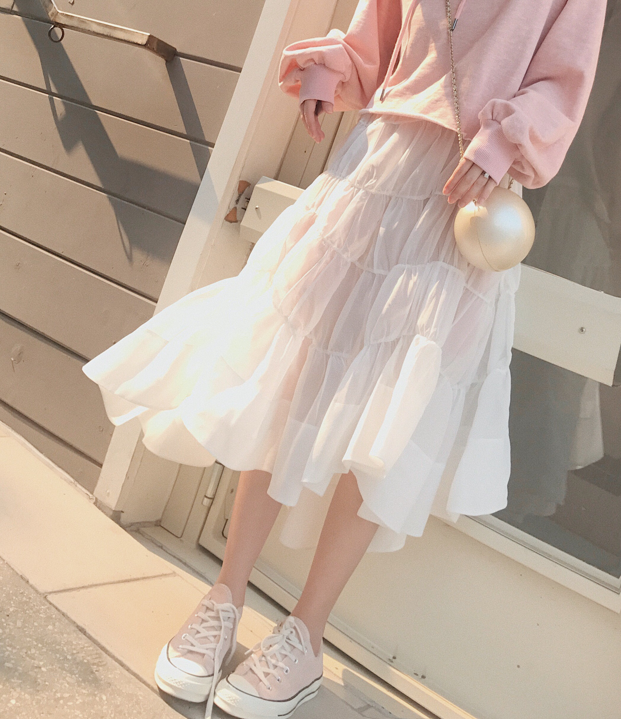 skirt Autumn of 2018 S M L White reservation 7 days Mid length dress commute High waist A-line skirt Solid color Type A 18-24 years old CH88009 31% (inclusive) - 50% (inclusive) other chinstudio Asymmetry Korean version