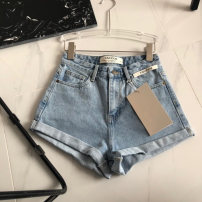 Jeans Summer 2021 wathet L,M,S shorts Natural waist Straight pants routine 25-29 years old Make old, wash, flanging, zipper Cotton denim light colour 91% (inclusive) - 95% (inclusive)