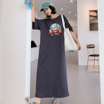 Dress Summer 2021 dark grey L,XL,2XL,3XL longuette singleton  Short sleeve commute Crew neck Loose waist Abstract pattern Socket One pace skirt routine Others 18-24 years old Type H Korean version Print, split More than 95% other cotton