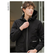 Jacket Markless Fashion City Black Khaki routine easy Other leisure spring Polyester 100% Long sleeves Wear out Hood Basic public routine Zipper placket Rubber band hem Closing sleeve Solid color Spring of 2019 Three dimensional bag