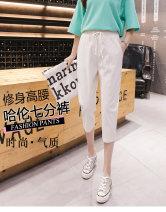Casual pants Light green, gray, off white, black S,M,L,XL,2XL,3XL Summer 2021 Cropped Trousers Haren pants High waist Versatile Thin money 96% and above A21 Senma hemp cotton