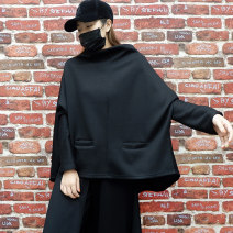 Sweater / sweater Spring 2021 black Average size Long sleeves Medium length Socket singleton  thickening stand collar Bat type street Bat sleeve Solid color 25-29 years old 51% (inclusive) - 70% (inclusive) cotton cotton Europe and America