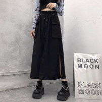 skirt Spring 2021 S,M,L,XL,2XL,3XL black longuette Versatile High waist A-line skirt Solid color Type A 18-24 years old 30% and below brocade My brother is style cotton Frenulum