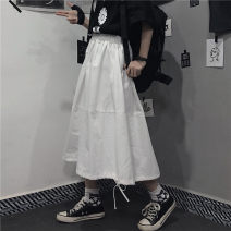 skirt Summer 2021 Average size Off white, black Mid length dress Versatile High waist A-line skirt Solid color Type A 30% and below My brother is style cotton