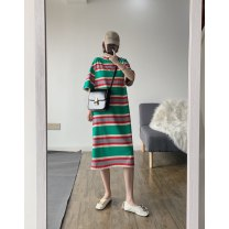 T-shirt Green stripe M,L,XL,2XL Summer of 2019 Short sleeve Crew neck easy Medium length Bat sleeve commute cotton 51% (inclusive) - 70% (inclusive) 18-24 years old Korean version youth Thick horizontal stripe Other / other