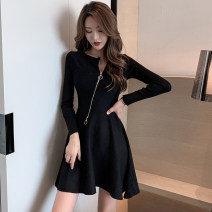 Dress Winter of 2019 Black, Khaki Average size Short skirt singleton  Long sleeves commute Slant collar High waist Solid color zipper A-line skirt routine Others Type A Other / other Korean version Asymmetric, zipper 71% (inclusive) - 80% (inclusive) knitting cotton