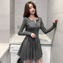 Dress Spring 2021 Gray, black S,M,L,XL Short skirt singleton  Long sleeves commute other High waist Solid color Socket A-line skirt routine Others Type A Other / other Korean version Open back, fold, button 91% (inclusive) - 95% (inclusive) cotton