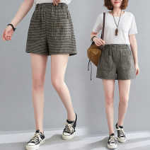 Women's large Summer 2021 Picture color M [100-120 Jin], l [120-140 Jin], XL [140-160 Jin], 2XL [160-180 Jin] trousers singleton  commute easy moderate lattice literature Cotton, hemp printing and dyeing Other / other 25-29 years old pocket 81% (inclusive) - 90% (inclusive) shorts