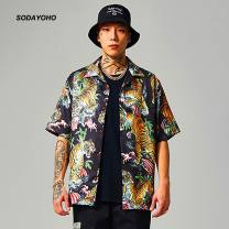 shirt Youth fashion Others S,M,L Black, gray, yellow routine Pointed collar (regular) Short sleeve easy sandy beach summer youth tide 2020 Animal pattern oxford Mercerization polyester fiber printing Soft Gloss  More than 95%