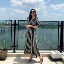 Middle aged and old women's wear Summer 2021 stripe S,M,L,XL,XXL Dress Lotus leaf sleeve CC-7117C other longuette