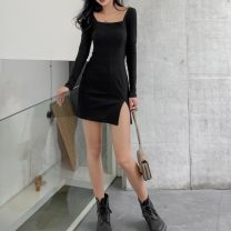 Dress Spring 2021 black 4XL,3XL,2XL,XL,L,M,S,XS Short skirt singleton  Long sleeves commute square neck Solid color Socket One pace skirt routine Others 25-29 years old Type H Korean version Asymmetry 81% (inclusive) - 90% (inclusive) knitting cotton