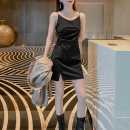 Dress Summer 2021 black XS,S,M,L,XL,2XL,3XL,4XL singleton  commute V-neck High waist Solid color Socket A-line skirt camisole Type A Korean version Fold, open back, asymmetry, split 71% (inclusive) - 80% (inclusive) cotton