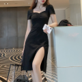 Dress Summer 2020 black 4XL,3XL,2XL,XL,L,M,S,XS Mid length dress singleton  Short sleeve commute square neck High waist Solid color Socket A-line skirt puff sleeve Others Type A Korean version fold 51% (inclusive) - 70% (inclusive) modal