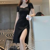 Dress Summer 2020 black 4XL,3XL,2XL,XL,L,M,S,XS Mid length dress singleton  Short sleeve commute square neck High waist Solid color Socket A-line skirt puff sleeve Others Type A Korean version fold 51% (inclusive) - 70% (inclusive) modal