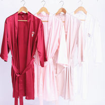Nightgown / bathrobe Other / other female Pattern notes White, Burgundy, champagne, sapphire, scarlet, pink Thin money Simplicity Polyester (polyester) Short (Mid Thigh to knee) silk Cartoon animation youth printing