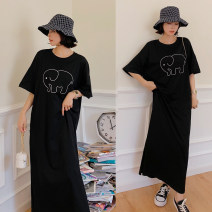 Women's large Summer 2021 black L [recommended 100-130 kg], XL [recommended 130-155 kg], 2XL [recommended 155-175 kg], 3XL [recommended 175-200 kg] Dress singleton  commute easy Socket Short sleeve Cartoon, other Korean version Crew neck cotton Three dimensional cutting Resin fixation 96% and above