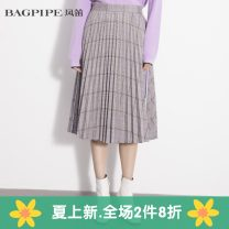 skirt Spring 2020 XS,S,M,L,XL,2XL lattice Mid length dress High waist A-line skirt other Type A 25-29 years old More than 95% Bagpipe / bagpipe polyester fiber
