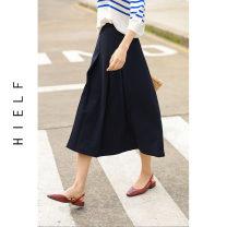 skirt Spring 2021 S,M,L navy blue longuette commute High waist A-line skirt More than 95% polyester fiber Zipper, fold