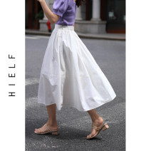 skirt Summer 2020 S,M,L White, black Mid length dress commute High waist Lantern skirt Solid color Type A More than 95% polyester fiber Fold, splice Simplicity