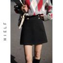 skirt Winter 2020 S,M,L Black, brown Short skirt commute High waist A-line skirt Solid color Type A 71% (inclusive) - 80% (inclusive) Wool polyester fiber Button Retro