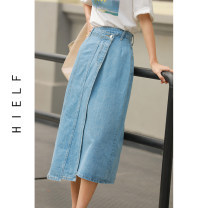 skirt Spring 2021 S,M,L blue Mid length dress commute High waist A-line skirt Solid color Type A 91% (inclusive) - 95% (inclusive) other