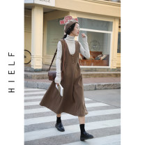 Dress Winter 2020 Black, camel S/M,M/L longuette singleton  Sleeveless commute V-neck High waist Solid color Socket A-line skirt straps Type A Simplicity Button, zipper polyester fiber