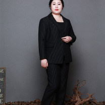 Women's large Autumn of 2018 Black (stock Collection + recommendation enjoy priority delivery) black (pre-sale around May 10 delivery) Large L Large XL Large XXL large XXXL large XXXXL large suit Two piece set commute Self cultivation moderate Cardigan Long sleeves stripe Ol style V-neck routine