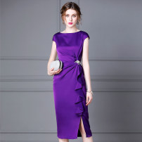 Dress Summer 2021 Purple, Burgundy, pink, purple S,M,L,XL,2XL Mid length dress singleton  Sleeveless commute Crew neck High waist Solid color zipper Pencil skirt other Others 35-39 years old Type H kevin&zhen lady Splicing KLO1955 More than 95% other polyester fiber