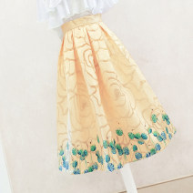 Women's large Spring 2021, summer 2021 yellow skirt thin Decor Ocnltiy 18-24 years old zipper 96% and above longuette