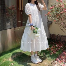 Dress Summer 2021 White, apricot Average size longuette singleton  Short sleeve commute Crew neck High waist Solid color Socket A-line skirt puff sleeve 18-24 years old Type A Korean version Lace up, stitching Q298 51% (inclusive) - 70% (inclusive) polyester fiber