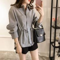 shirt Gray, blue M,L,XL,2XL,3XL,4XL Spring 2021 other 96% and above Long sleeves commute Medium length Polo collar Single row multi button routine Solid color 18-24 years old Straight cylinder Korean version Button, tridimensional decoration, pocket, lace up