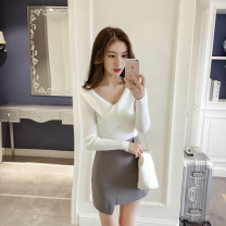 Wool knitwear Spring 2021 Average size White, black, khaki Long sleeves singleton  Socket other 31% (inclusive) - 50% (inclusive) Regular routine commute Self cultivation V-neck routine Solid color Socket Korean version 18-24 years old