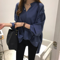 Women's large Spring 2021 White, green, blue M. Large L, large XL, 2XL, 3XL shirt singleton  commute easy thin Socket Long sleeves Solid color Korean version V-neck Medium length Silk, polyester routine 18-24 years old Asymmetry 31% (inclusive) - 50% (inclusive)