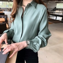 shirt Pink, yellow, apricot, green M,L,XL,2XL,3XL,4XL Spring 2021 other 96% and above Long sleeves commute Regular Polo collar Single row multi button shirt sleeve Solid color 18-24 years old Straight cylinder Korean version Button, button