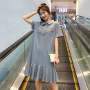 Women's large Summer 2021 Dress singleton  commute easy moderate Socket Short sleeve Solid color Korean version Polo collar Three dimensional cutting routine 18-24 years old Three dimensional decoration 31% (inclusive) - 50% (inclusive) Medium length Ruffle Skirt Lotus leaf edge Three buttons