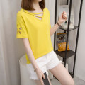 Women's large Summer 2021 Black, yellow M [reference 80-100 Jin], l [reference 100-120 Jin], XL [reference 120-140 Jin], 2XL [reference 140-160 Jin], 3XL [reference 160-180 Jin], 4XL [reference 180-200 Jin] T-shirt singleton  commute easy thin Socket Short sleeve Solid color Korean version Crew neck