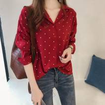 shirt Black, red M,L,XL,2XL,3XL,4XL Spring 2021 other 71% (inclusive) - 80% (inclusive) Long sleeves commute Medium length Polo collar Single row multi button routine Dot 18-24 years old Straight cylinder Korean version