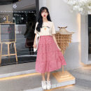 skirt Summer 2021 Average size Black and white, red and white Mid length dress commute High waist A-line skirt lattice Type A 18-24 years old 30% and below other polyester fiber Lotus leaf edge Korean version