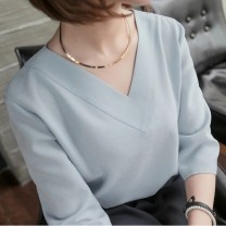 shirt S,M,L,XL,2XL,3XL Summer 2021 other 31% (inclusive) - 50% (inclusive) elbow sleeve commute Regular V-neck Socket routine Solid color 18-24 years old Straight cylinder Korean version