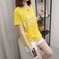 Women's large Summer 2021 Yellow, white, pink M [reference 80-100 Jin], l [reference 100-120 Jin], XL [reference 120-140 Jin], 2XL [reference 140-160 Jin], 3XL [reference 160-180 Jin], 4XL [reference 180-200 Jin] T-shirt singleton  commute easy thin Socket Short sleeve letter Korean version V-neck