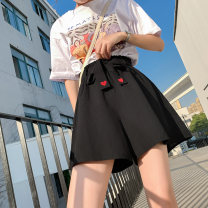 Women's large Summer 2021 Apricot, black trousers singleton  commute easy moderate Solid color, others Korean version Polyester, cotton Three dimensional cutting 18-24 years old belt 71% (inclusive) - 80% (inclusive) shorts
