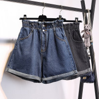 Women's large Summer 2021 Dark grey, blue L [reference 100-120 kg], XL [reference 120-140 kg], 2XL [reference 140-160 kg], 3XL [reference 160-180 kg], 4XL [reference 180-200 kg] trousers singleton  commute easy moderate Solid color Korean version Denim printing and dyeing 18-24 years old pocket