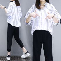 Women's large Summer 2021 Other oversize styles Two piece set commute easy moderate Socket Short sleeve Stripe, solid color Korean version V-neck routine cotton Three dimensional cutting routine 18-24 years old Gauze 31% (inclusive) - 50% (inclusive) Ninth pants Hollowing out