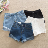 Jeans Summer 2021 shorts High waist Straight pants routine 18-24 years old Wash, whiten, button Thin denim Dark color 81% (inclusive) - 90% (inclusive)