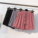 Women's large Summer 2021 Black, watermelon red, silver grey XL [reference 95-125 Jin], 2XL [reference 125-150 Jin], 3XL [reference 150-175 Jin], 4XL [reference 175-200 Jin] trousers singleton  commute easy thin Solid color Korean version polyester fold 18-24 years old belt shorts bow