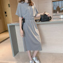 Women's large Summer 2021 Black, gray Dress singleton  commute easy moderate Socket Short sleeve Solid color Korean version Crew neck Polyester, cotton Three dimensional cutting routine 18-24 years old belt 51% (inclusive) - 70% (inclusive) Medium length other