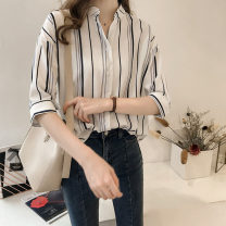 shirt White, green, blue, brick red M,L,XL,2XL,3XL,4XL Summer 2021 other 71% (inclusive) - 80% (inclusive) elbow sleeve commute Regular V-neck Single row multi button routine stripe 18-24 years old Straight cylinder Korean version Button