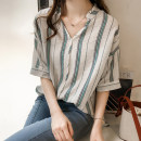 shirt Pink, green M,L,XL,2XL,3XL,4XL Summer 2021 other 31% (inclusive) - 50% (inclusive) Short sleeve commute Regular V-neck Single row multi button routine stripe 18-24 years old Straight cylinder Korean version